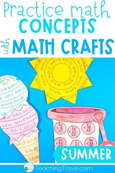 Math crafts are perfect for using with students in first grade, second grade and third grade who are working on addition, subtraction and multiplication number facts. The differentiated activities mean that your students can even work on two digit addition and subtraction or adding and subtracting three digit numbers. They align with core standards and are simple, fun, and engaging to do! Your students won't even realize they're working on their math skills. #mathactivities #mathcrafts