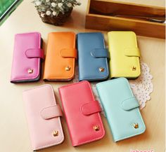 Wholesale Women Wallet Flip Leather Stand Cover Cell Phone Case for iPhone 5