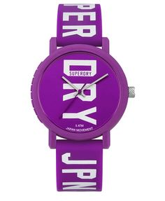 #superdry Superdry women's campus Fluro block watch. Be bright with our new block watch. Genuine Superdry timepiece. Manufactured using super soft compression moulded silicone and Japanese quartz movement. The watch has a bold Superdry JPN logo on the straps and watch face and is finished with a buckle fastening. FW 4cm X SW 2cm 318604950009515N007 Purple Condition | new