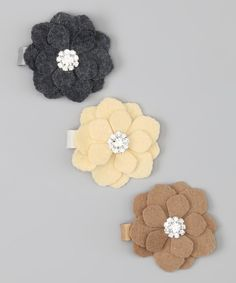 Take a look at this Gray, Cream & Beige Flower Clip Set on zulily today!