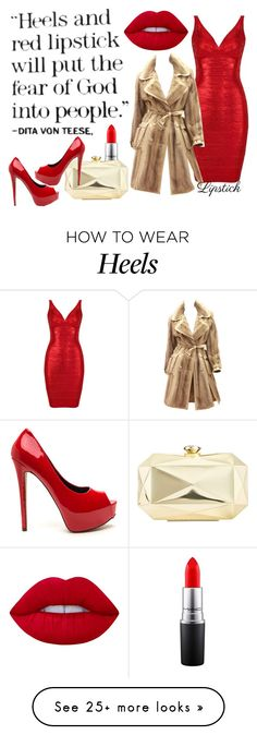 """""""heels & red lipstick"""" by aries-indonesia on Polyvore featuring MAC Cosmetics, John Galliano, INC International Concepts and Lime Crime"""