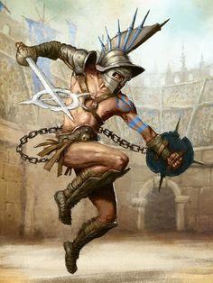 m npc Gladiator Light Armor Helm Shield Chain Sword Arena urban city ArtStation by Tomek Larek Fantasy Character Design, Character Concept, Character Art, Concept Art, Gladiator Arena, Gladiator Tattoo, Gladiator Characters, Guerrero Dragon, Roman Gladiators