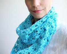 Infinity scarf PDF crochet pattern -  lace - DIY tutorial - Quick and easy gift