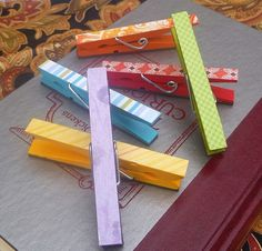 Magnetic Handpainted Wooden Clothespins in Rainbow Inspired Colors $8.50