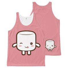 Smiling marshmallow with tongue out All-Over print tank top Tank Tops