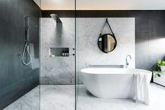 White Carara Marble back drop  http://m.interiordesign.net/slideshows/detail/8721-7-breathtaking-bathrooms/