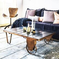 Industrial Cart Coffee Table In Copper - House Junkie