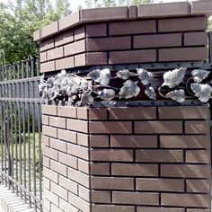 Fence Wall Design, Metal Worx, Brick Columns, Blacksmith Forge, Wrought Iron Doors, Blacksmith Projects, Driveway Gate, Iron Art, Garden Gates