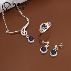 Fashion New Sale Silver 925 Jewelry Sets Blue Crystal Necklace Set Gift Sets Women Indian Jewelry YUEYIN S596