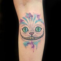 watercolour water color tattoo alice in wonderland colour cat tattoo georgina may primitive tattoo