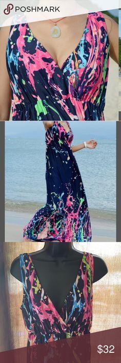 "Splash NWT~ Beautiful Splash Maxi Dress. Length measure shoulder to hem 53"" Bust measures up too 42 Navy blue with multi colors splashed in. Dresses Maxi"