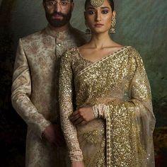 Indian Bride & Groom | Beautiful & Stunning Bridal Saree | Designed by SabyaSashi | InstaPic
