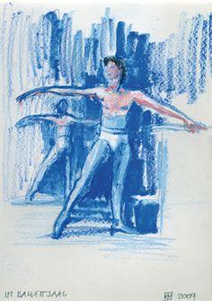 Im Ballettsaal/Aquarell/Farbstift ©Tobias Windlinger