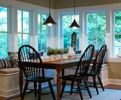 Corner Window Seat | Corner table with window seat | kitchen love