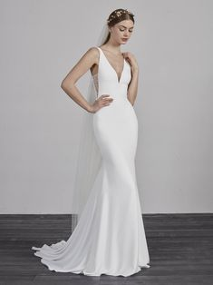 online shopping for Pronovias Estilo V-Neck Crepe Trumpet Wedding Gown from top store. See new offer for Pronovias Estilo V-Neck Crepe Trumpet Wedding Gown Pronovias Wedding Dress, V Neck Wedding Dress, Wedding Dress Trends, Wedding Dress Sizes, Wedding Dress Shopping, Perfect Wedding Dress, Wedding Suits, Bridal Dresses, Wedding Gowns