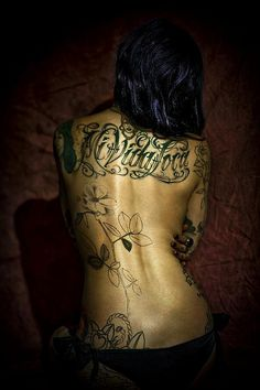 """back tattoo...awesome typography.""""My crazy life"""""""