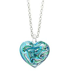 Another great find on #zulily! Teal & Green Glass Heart Pendant Necklace #zulilyfinds