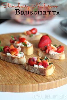An easy to make and delicious Strawberry Nectrarine Bruschetta. #healthyappetizer #bruschetta by Joyful Healthy Eats