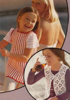 Vintage Kids Crochet Pattern Pdf 1970s Girls LACY WAISTCOAT and Striped SUNDRESS/Pinafore Dress or Tunic Dress 0118 Treasury Item