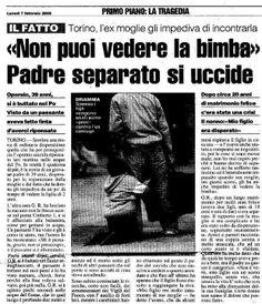 «Non puoi vedere la bimba». Padre separato si uccide. A Torino.