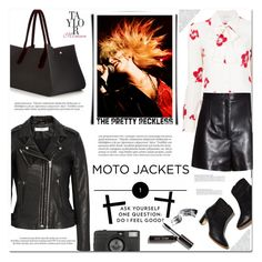 """#motojackets"" by arohii ❤ liked on Polyvore featuring Roksanda, Yves Saint Laurent, Balenciaga, Rupert Sanderson, Balmain, IRO, Bobbi Brown Cosmetics, Lomography, Louis Vuitton and taylormomsen"