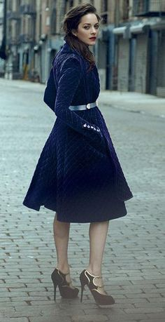 Marion Cotillard. Gorgeous royal blue coat dress