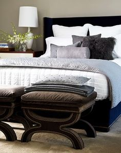A mix of luxurious textures, sleek lines, and a rich palette lend a sophisticated yet masculine air to the master bedroom. - Traditional Home ® / Photo: Colleen Duffley / Design: Bob Williams Serene Bedroom, Beautiful Bedrooms, Dream Bedroom, Home Bedroom, Bedroom Decor, Master Bedrooms, Bedroom Ideas, Bedroom Interiors, Bedroom Retreat