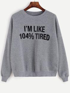 Shop Grey Letter Print Drop Shoulder Hoodie Online Shein Offers - Teen Shirts - Ideas of Teen Shirts - Sarcastic Shirts, Funny Shirt Sayings, Shirts With Sayings, Shirt Quotes, Funny Sweatshirts, Printed Sweatshirts, Hoodies, Cute Shirts, Funny Shirts