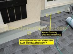 Roof to Wall Apron Flashing (Headwall Flashing) Installation Roofing Nails, Fascia Board, Roof Flashing, Porch Roof, Roof Installation, Tile Floor, Apron, Construction, Wall