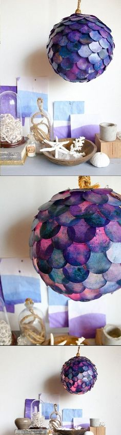 Looking for affordable gifts? Make it a project! Create a mermaid scale pendant lamp! Your mermaid pals will flip for this crafty lamp. Do It Yourself Inspiration, Do It Yourself Projects, Diy Projects To Try, Craft Projects, Craft Ideas, Fun Crafts, Diy And Crafts, Arts And Crafts, Deco Luminaire