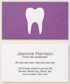 Plum purple dentist business cards. A modern and minimal design with a white tooth silhouette against a purple background. Classy and contemporary design in a fun color, suitable for dentists, orthodontists, dental hygienists and assistants. Dental business cards.