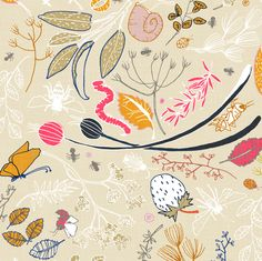 The Herb Garden (in sand) fabric by nouveau_bohemian on Spoonflower - custom fabric