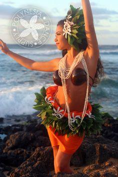 Tahitian Costume Tiare Hip Belt & Hair by PolynesiaDanceSupply, $95.00