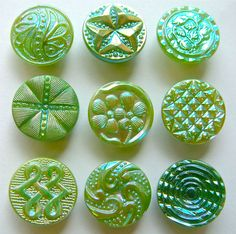 9 X 19mm Vintage Green Glass Buttons With Lustre, Assorted Designs