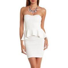 White Strapless Peplum Dress!