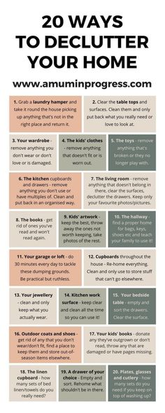 20 ways to declutter your home infographic. Check out this post on how to declutter your home. Decluttering tips. Home organisation. Tips on how to simplify your home. Simplify your life.