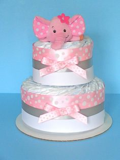 2 Tier Diaper Cake Girl Diaper Cake by PamperedBabyCreation