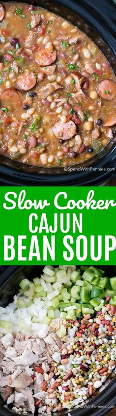 This Cajun Bean Turkey Soup recipe is the perfect way to enjoy leftover turkey. This 15 Bean Soup is loaded with vegetables, and freezes well! #ad #spendwithpennies #slowcooker #soup #beansoup