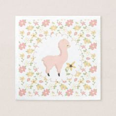 Pink Little Llama Paper Napkin - kitchen gifts diy ideas decor special unique individual customized