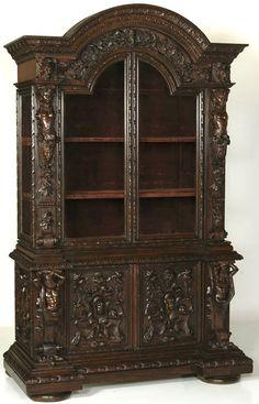 Antique Italian Renaissance Bookcase, #Italian #antique #furniture