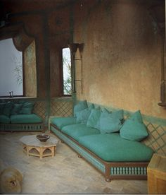 Moroccan Turquoise and beige interior