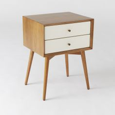 West Elm // Mid-Century Nightstand, White Lacquer/Acorn