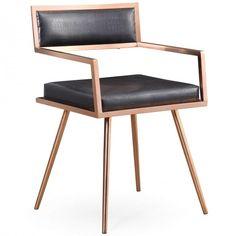 Marquee Arm Chair, Black Croc (Set of 2) - Chairs - Furniture