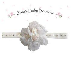 Minnie Mouse Headband * Swarovski Crystal Headband * White Headband * Flower Headband * Girls *  Toddler * Baby * Zara's Baby Boutique by ZarasBabyBoutique on Etsy