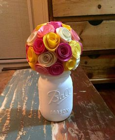 Spring Flower Rose Bouquet - In A Hand Painted Cream Mason Jar (pint)! by SisterActDesigns on Etsy https://www.etsy.com/listing/293423759/spring-flower-rose-bouquet-in-a-hand