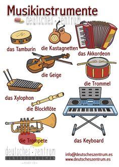 Musikinstrumente.  Deutsch Wortschatz Grammatik German DAF Vocabulario Alemán