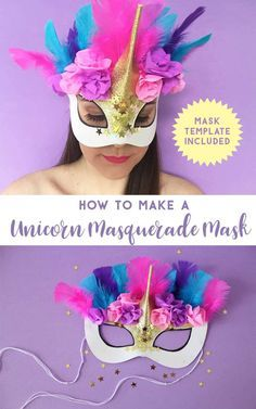 You are sure to stand out as the most stunning unicorn in a field of horses with this beautiful unicorn masquerade mask. Plus get a free mask template! Unicorn Mask, Unicorn Costume, Unicorn Snot, Halloween Unicorn, Christmas Unicorn, Carnaval Diy, Diy Carnival, Carnival Dress, Carnival Prizes