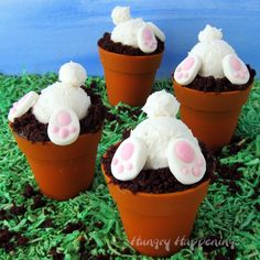 These Bunny Butt Cupcakes will be so fun to serve for Easter dessert, a baby shower, or an Earth Day celebration and they are easy to make using chocolate cupcakes baked in silicone flower pots topped with frosting bunnies with candy bunny feet. Chocolate Ganache Cake, Chocolate Cupcakes, Chocolate Recipes, Mocha Cupcakes, Banana Cupcakes, Strawberry Cupcakes, Velvet Cupcakes, Vanilla Cupcakes, Cupcake Flower Pots