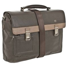 Piquardo Grey Italian Leather Briefcase with iPad/iPad®Air and notebook Compartments