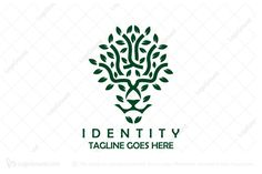 Playful lion logo for sale. Logo is created with lion face that is incorporated into the design of a tree. Color is dark green.  Logo for sale: Lion Tree Logo